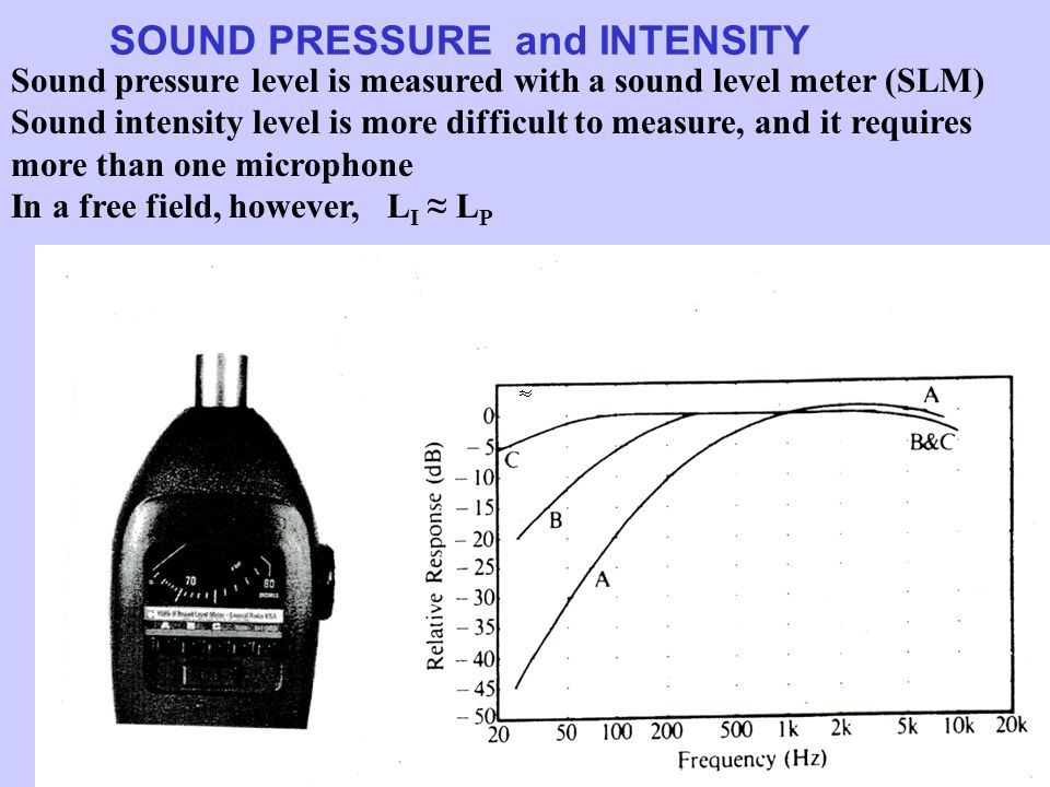 SOUND PRESSURE and INTENSITY Sound pressure level is measured with a sound level meter (SLM) Sound intensity level is more difficult to measure, and it requires more than one microphone In a free field, however, L I ≈ L P