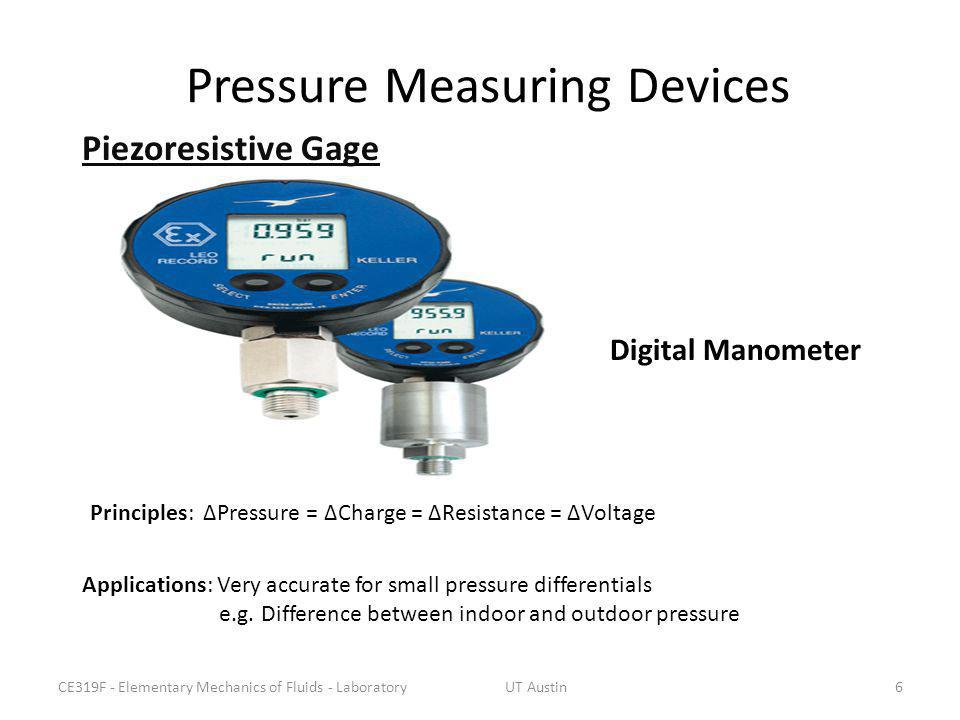 Pressure Measuring Devices Applications: Very accurate for small pressure differentials e.g. Difference between indoor and outdoor pressure Principles
