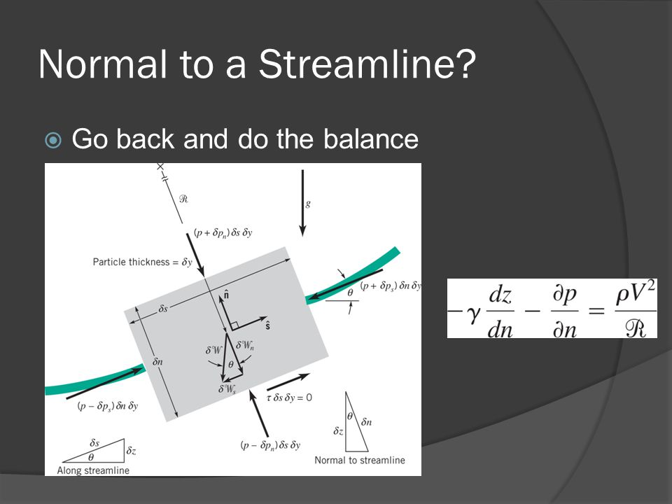 Normal to a Streamline?  Go back and do the balance