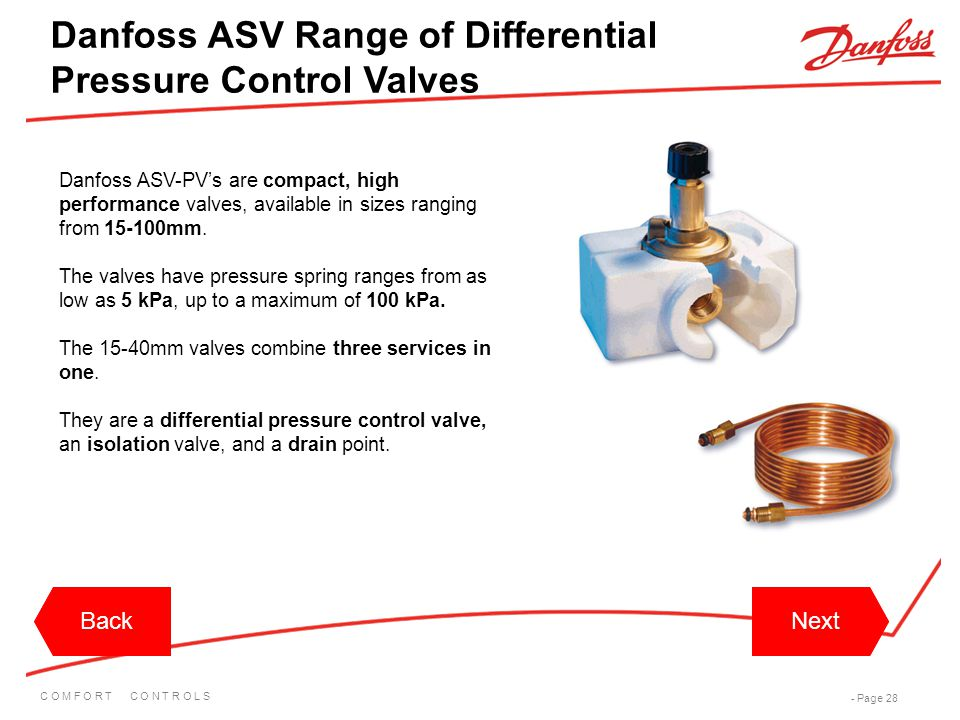 C O M F O R T C O N T R O L S - Page 28 Danfoss ASV-PV's are compact, high performance valves, available in sizes ranging from 15-100mm. The valves ha