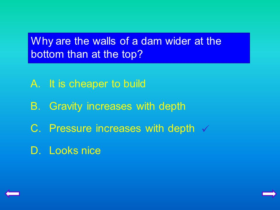 Why are the walls of a dam wider at the bottom than at the top.