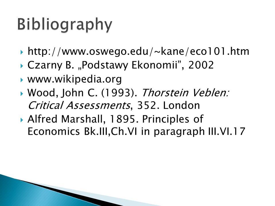 """ http://www.oswego.edu/~kane/eco101.htm  Czarny B. """"Podstawy Ekonomii"""", 2002  www.wikipedia.org  Wood, John C. (1993). Thorstein Veblen: Critical"""