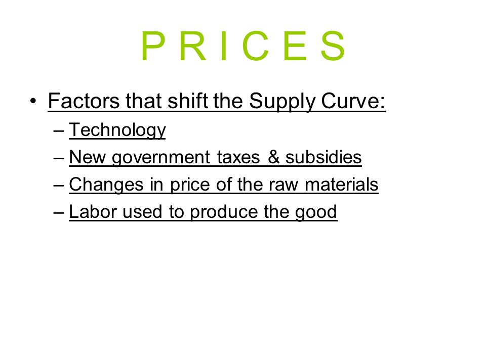 P R I C E S Factors that shift the Supply Curve: –Technology –New government taxes & subsidies –Changes in price of the raw materials –Labor used to p
