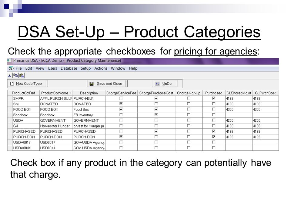 DSA Set-Up – Product Categories Check the appropriate checkboxes for pricing for agencies: Check box if any product in the category can potentially ha