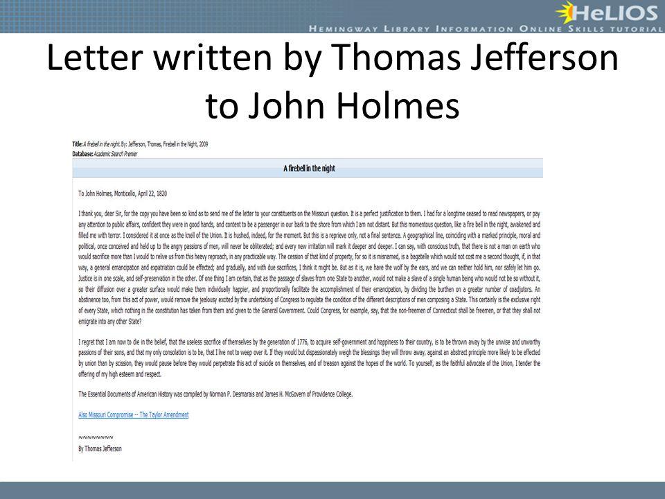 Letter written by Thomas Jefferson to John Holmes