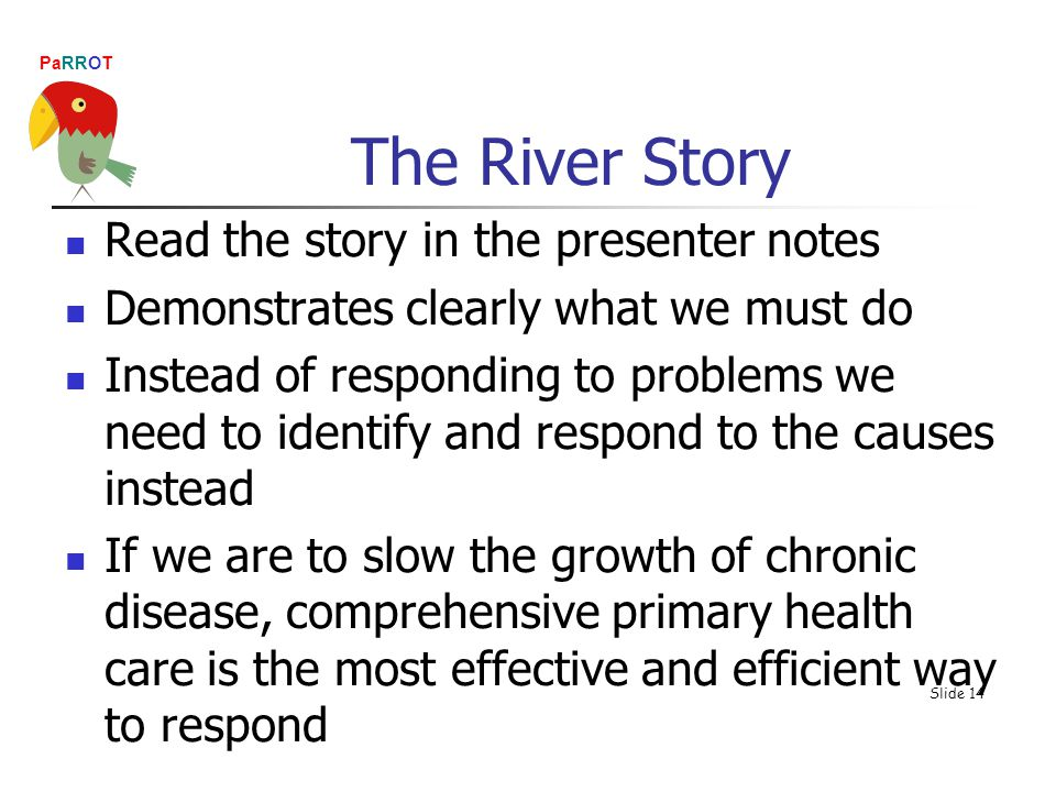 PaRROT Read the story in the presenter notes Demonstrates clearly what we must do Instead of responding to problems we need to identify and respond to the causes instead If we are to slow the growth of chronic disease, comprehensive primary health care is the most effective and efficient way to respond Slide 14 The River Story