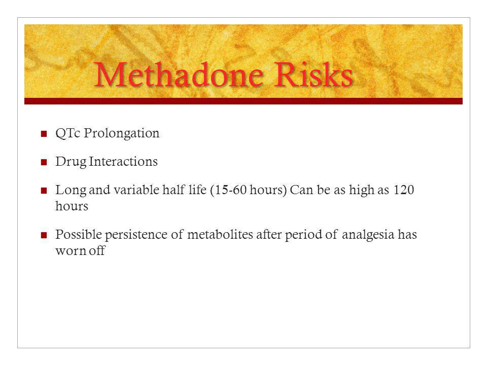 QTc Prolongation Drug Interactions Long and variable half life (15-60 hours) Can be as high as 120 hours Possible persistence of metabolites after per