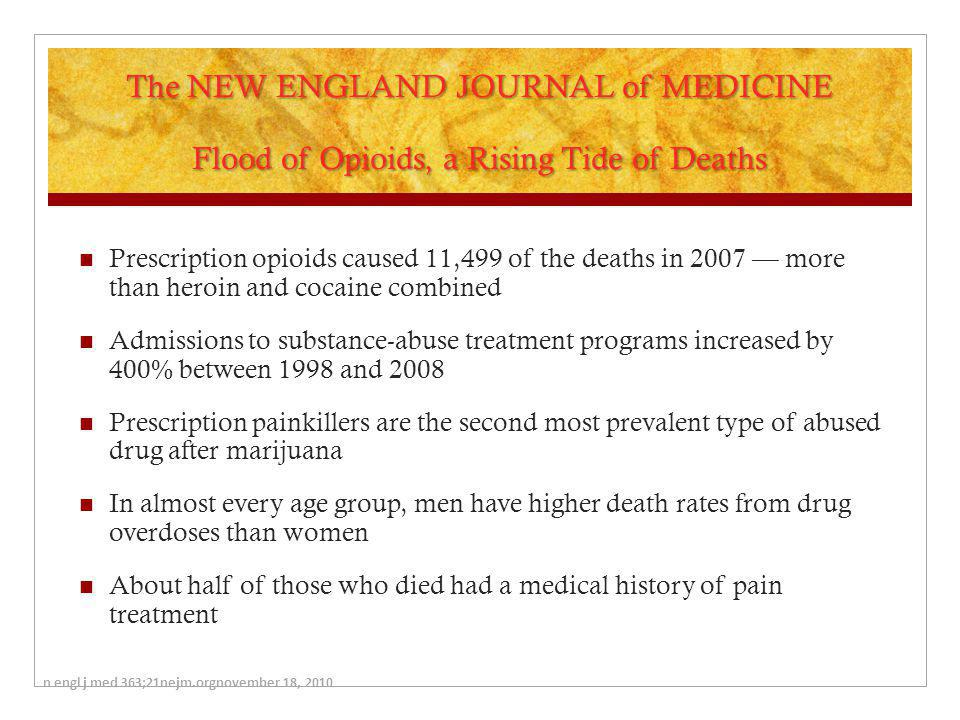 The NEW ENGLAND JOURNAL of MEDICINE Flood of Opioids, a Rising Tide of Deaths Prescription opioids caused 11,499 of the deaths in 2007 — more than her