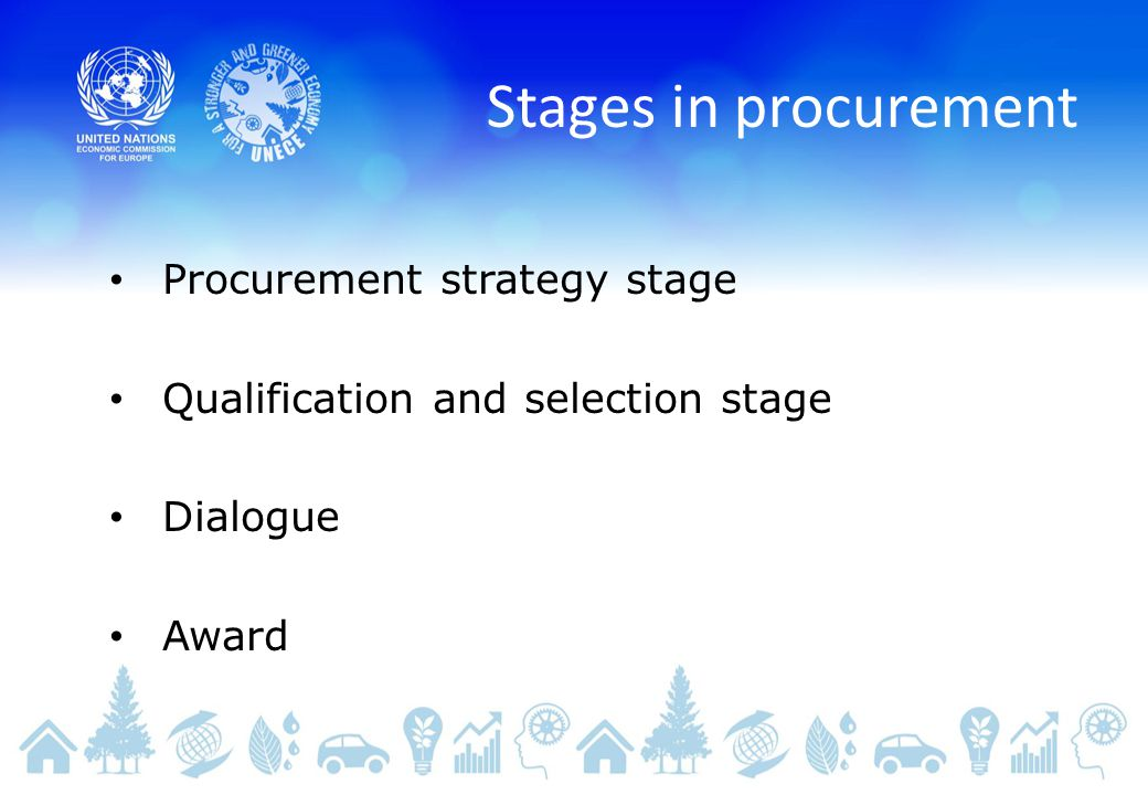 Stages in procurement Procurement strategy stage Qualification and selection stage Dialogue Award