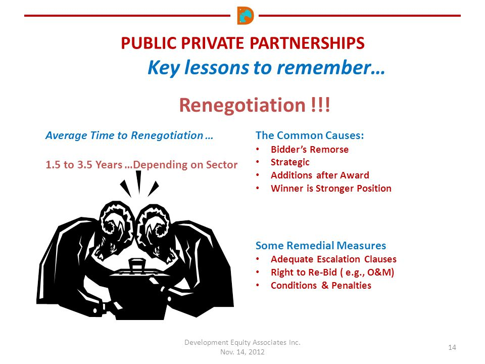 PUBLIC PRIVATE PARTNERSHIPS Key lessons to remember… Development Equity Associates Inc. Nov. 14, 2012 14 Average Time to Renegotiation … 1.5 to 3.5 Ye