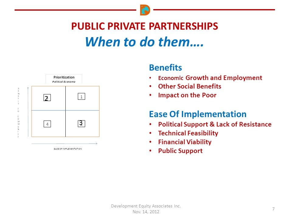 PUBLIC PRIVATE PARTNERSHIPS When to do them…. Development Equity Associates Inc. Nov. 14, 2012 7 Benefits Economic Growth and Employment Other Social