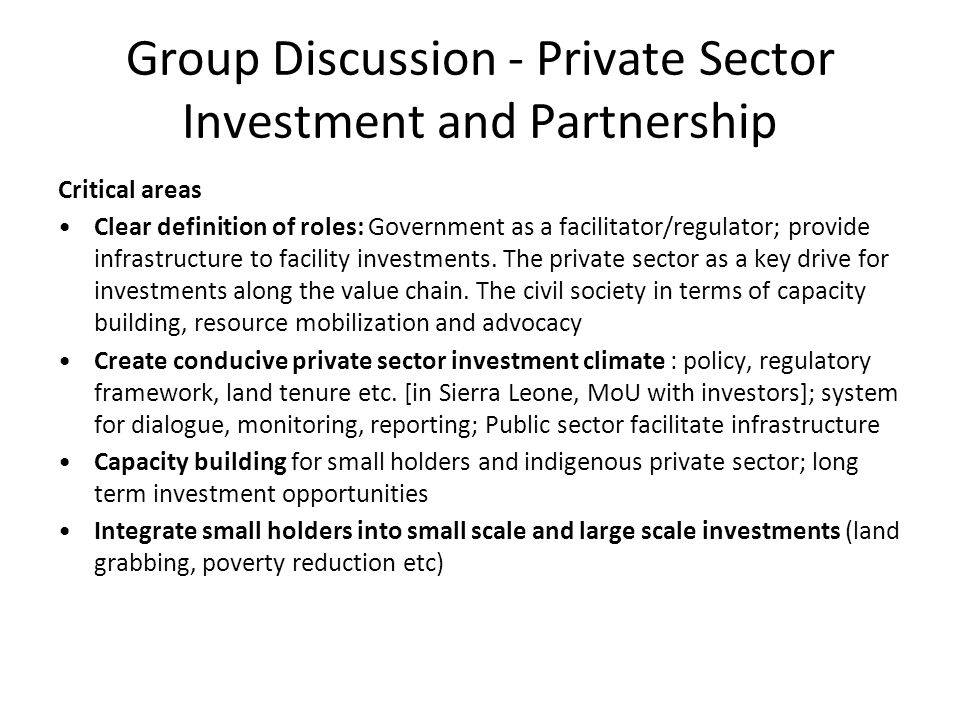 Group Discussion - Private Sector Investment and Partnership Critical areas Clear definition of roles: Government as a facilitator/regulator; provide infrastructure to facility investments.
