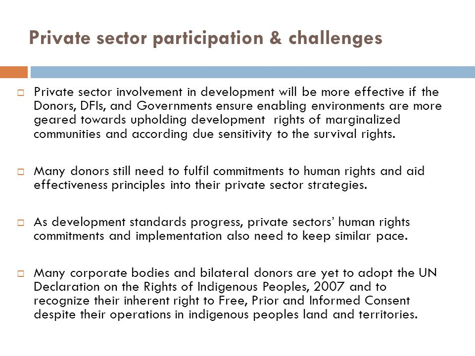 Private sector participation & challenges  Private sector involvement in development will be more effective if the Donors, DFIs, and Governments ensu