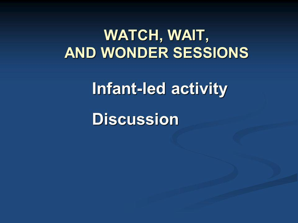 WATCH, WAIT, AND WONDER SESSIONS Infant-led activity Discussion
