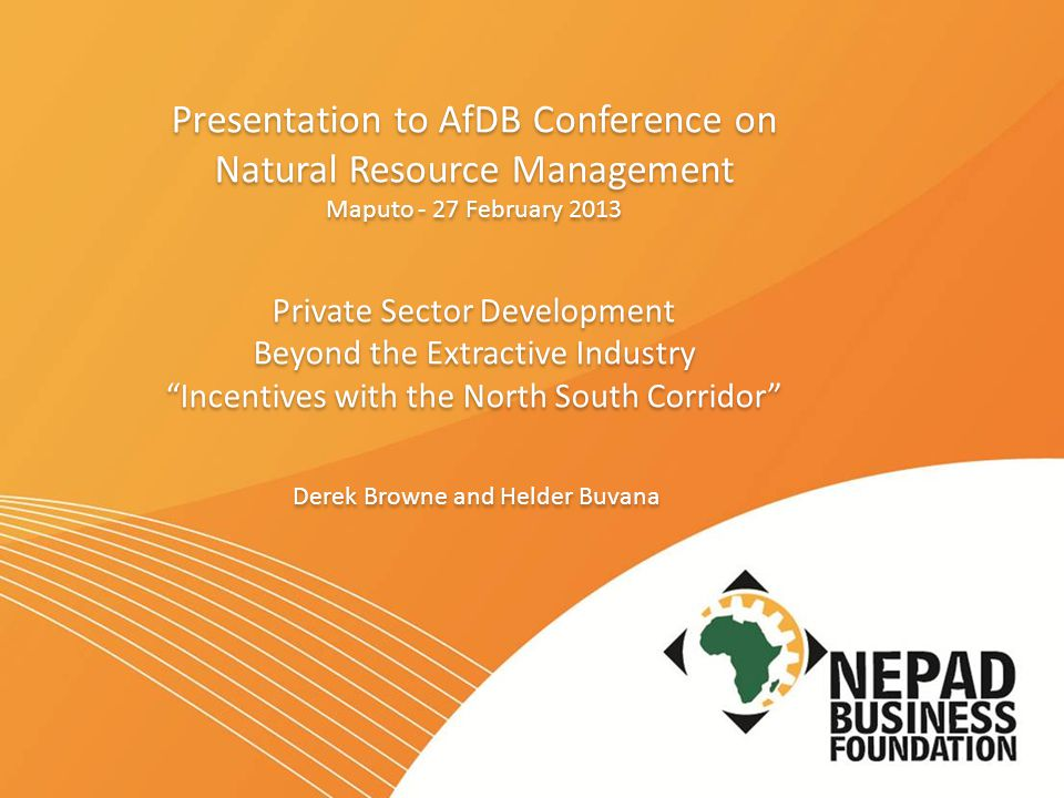 Outline of Presentation  New Partnership for Africa Development (NEPAD), the African Union (AU) and NEPAD Agency  NEPAD Business Foundation (NBF's) vision and journey to date  NBF's and NEPAD Agency's key areas of focus  NBF's unique approach to private sector development in Africa  Current initiatives  Questions