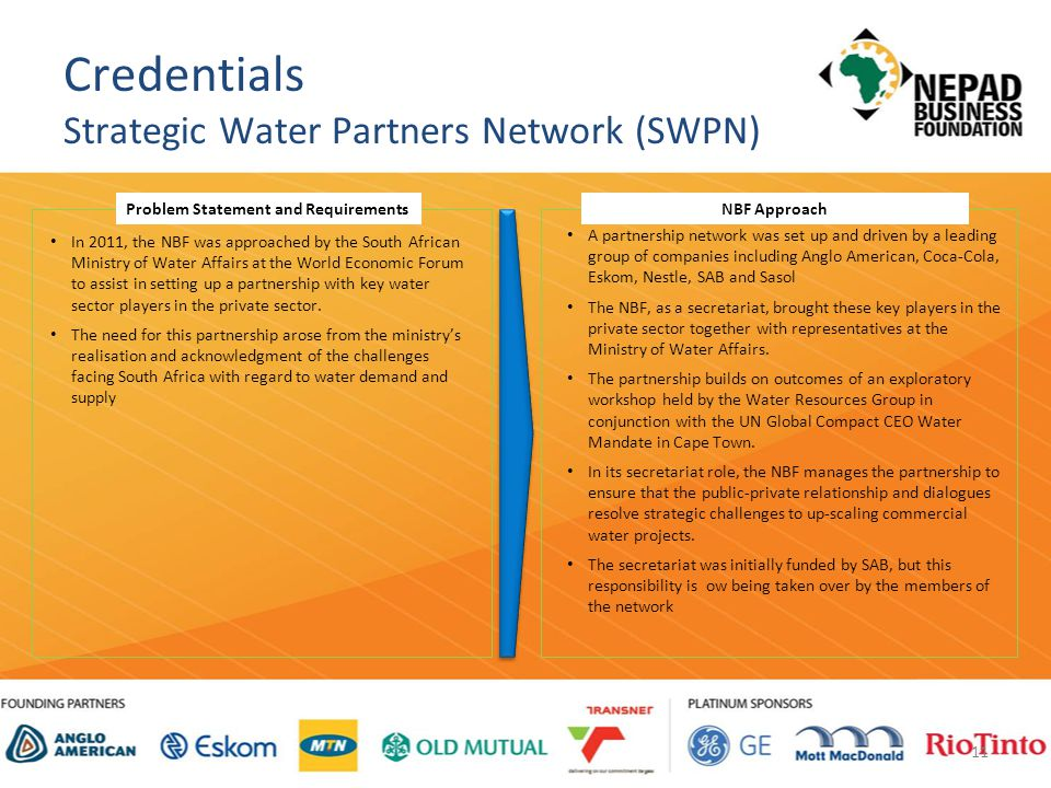 11 Credentials Strategic Water Partners Network (SWPN) In 2011, the NBF was approached by the South African Ministry of Water Affairs at the World Economic Forum to assist in setting up a partnership with key water sector players in the private sector.