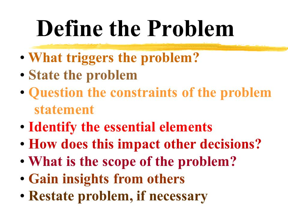 Define the Problem What triggers the problem.