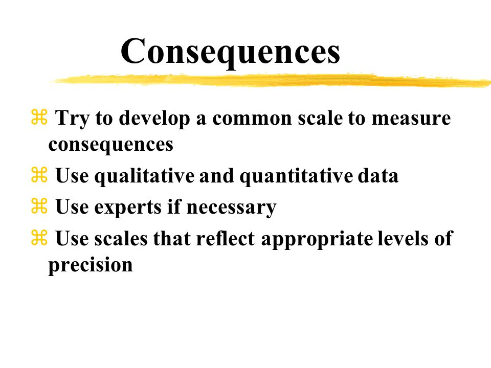 Consequences z Try to develop a common scale to measure consequences z Use qualitative and quantitative data z Use experts if necessary z Use scales that reflect appropriate levels of precision