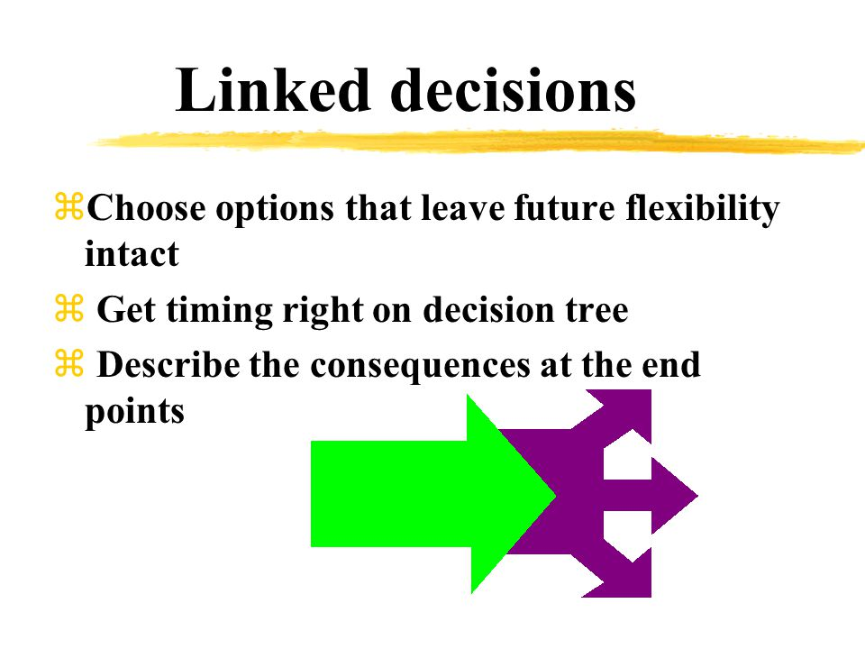 Linked decisions zChoose options that leave future flexibility intact z Get timing right on decision tree z Describe the consequences at the end points