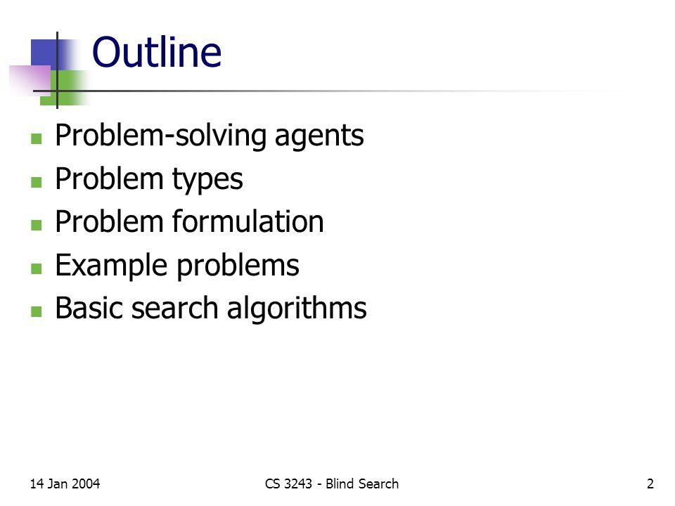 14 Jan 2004CS 3243 - Blind Search3 Problem-solving agents