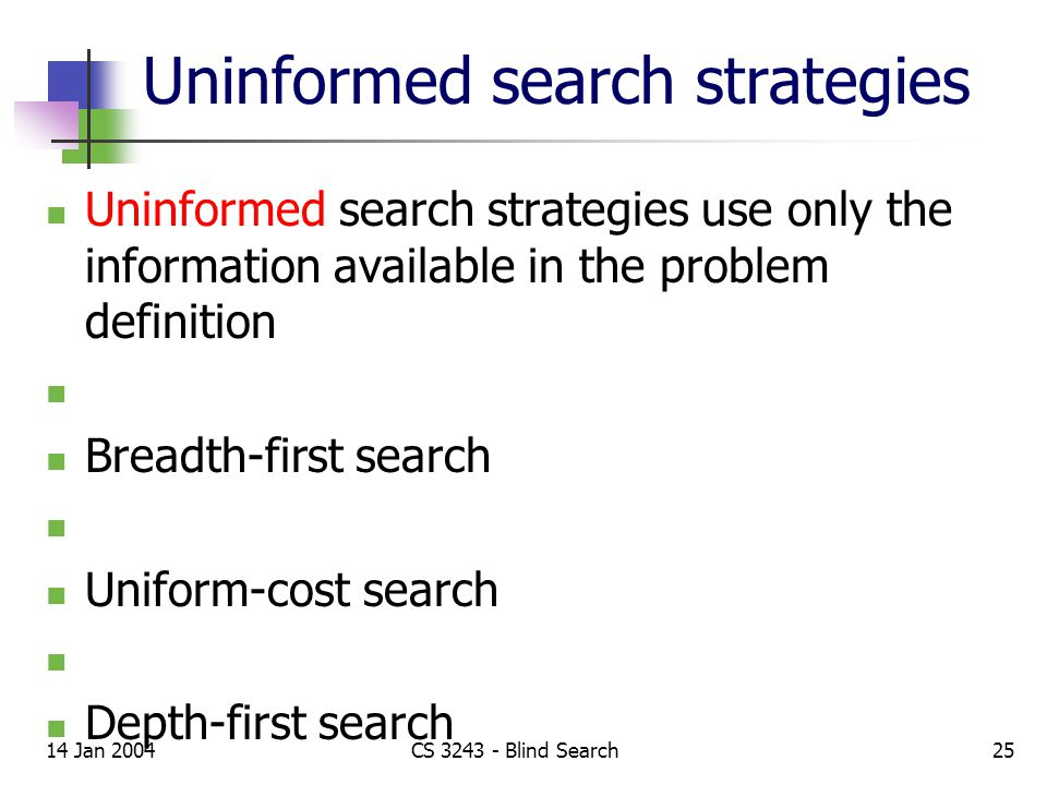 14 Jan 2004CS 3243 - Blind Search25 Uninformed search strategies Uninformed search strategies use only the information available in the problem definition Breadth-first search Uniform-cost search Depth-first search Depth-limited search Iterative deepening search