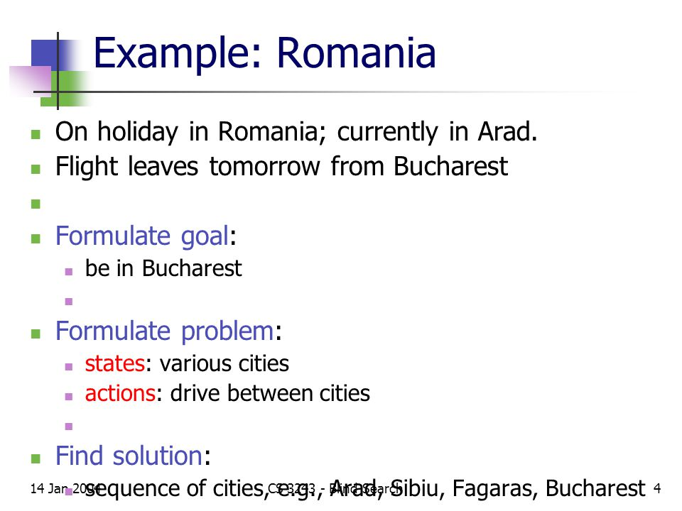 14 Jan 2004CS 3243 - Blind Search4 Example: Romania On holiday in Romania; currently in Arad.