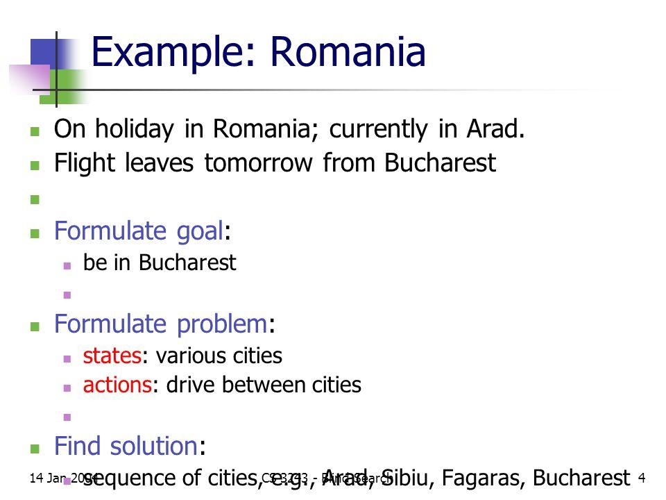 14 Jan 2004CS 3243 - Blind Search5 Example: Romania