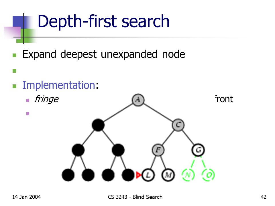 14 Jan 2004CS 3243 - Blind Search42 Depth-first search Expand deepest unexpanded node Implementation: fringe = LIFO queue, i.e., put successors at front