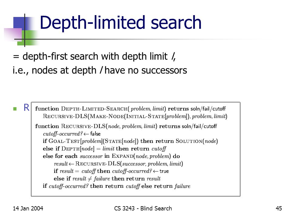 14 Jan 2004CS 3243 - Blind Search45 Depth-limited search = depth-first search with depth limit l, i.e., nodes at depth l have no successors Recursive implementation: