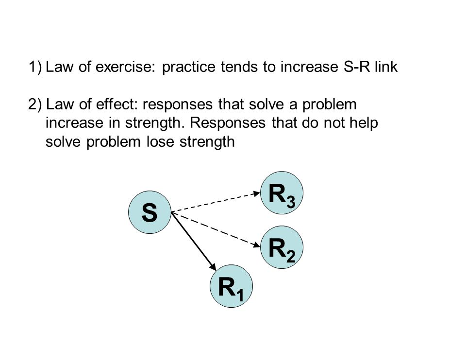 1)Law of exercise: practice tends to increase S-R link 2) Law of effect: responses that solve a problem increase in strength.