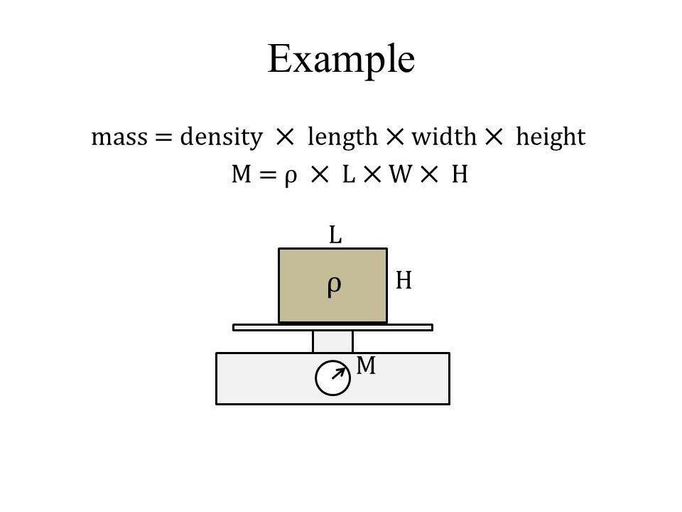 Example mass = density ⨉ length ⨉ width ⨉ height M H M = ρ ⨉ L ⨉ W ⨉ H L ρ