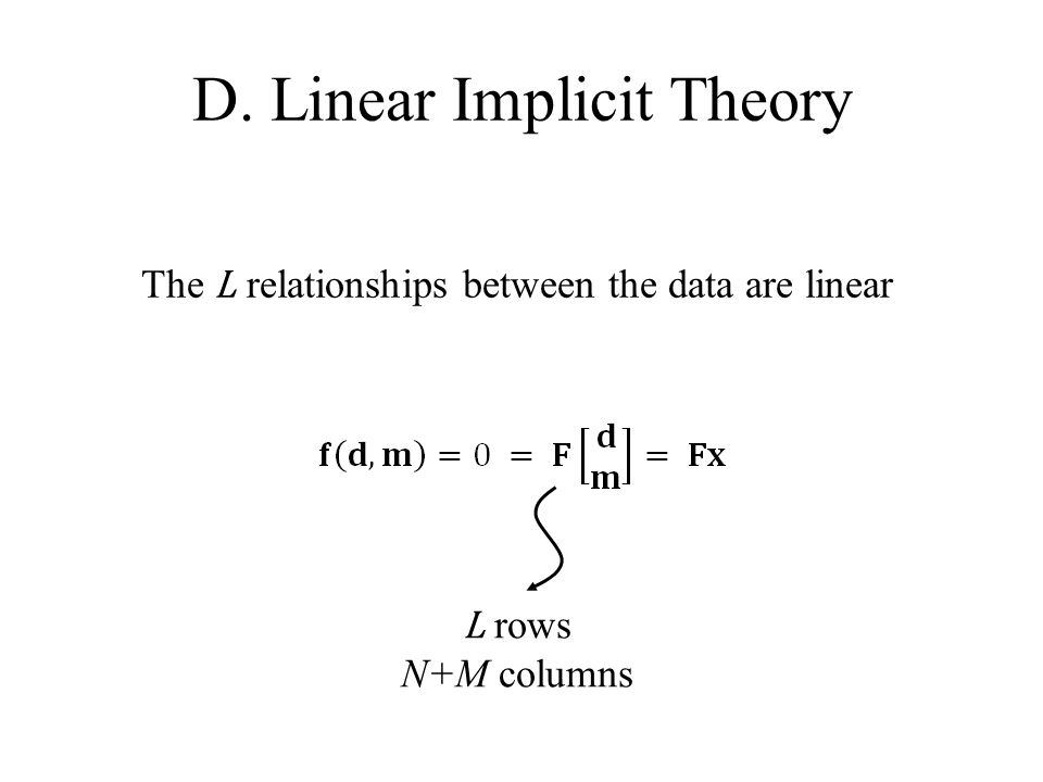 D. Linear Implicit Theory The L relationships between the data are linear L rows N+M columns