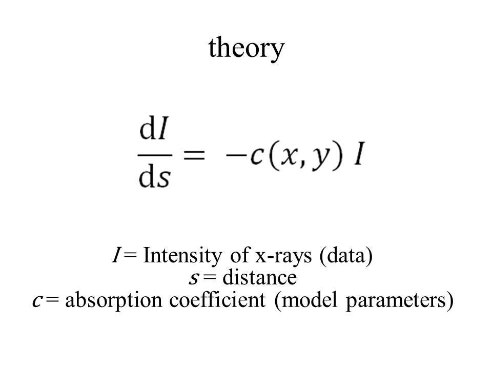 theory I = Intensity of x-rays (data) s = distance c = absorption coefficient (model parameters)