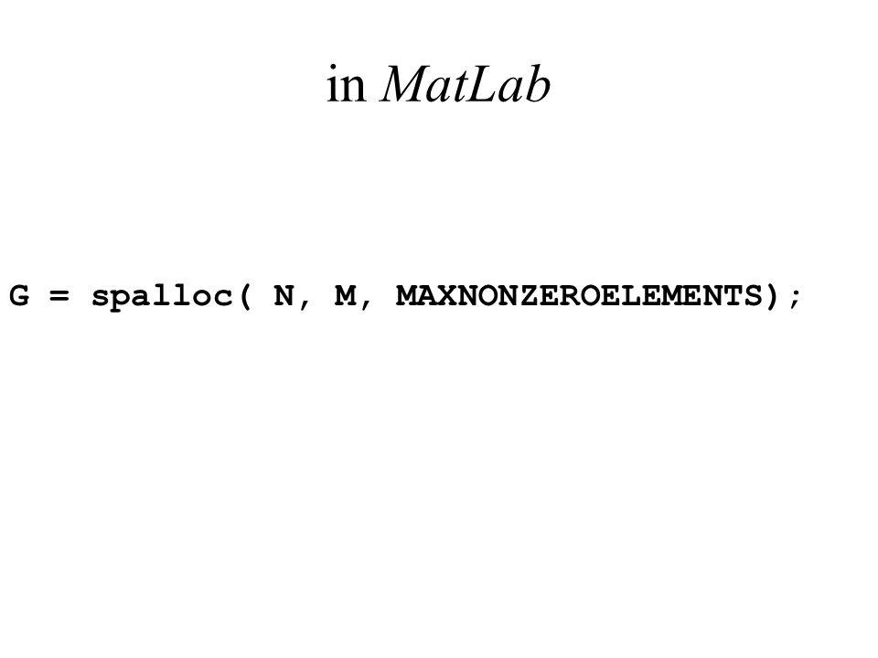 in MatLab G = spalloc( N, M, MAXNONZEROELEMENTS);