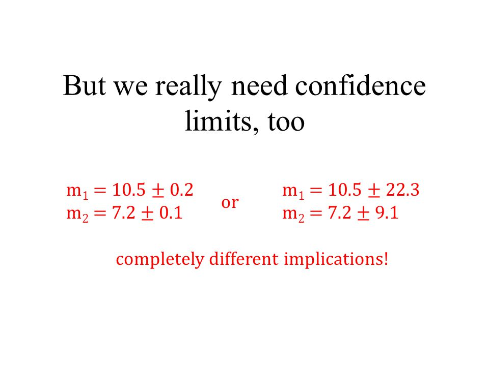 But we really need confidence limits, too m 1 = 10.5 ± 0.2 m 2 = 7.2 ± 0.1 m 1 = 10.5 ± 22.3 m 2 = 7.2 ± 9.1 or completely different implications!