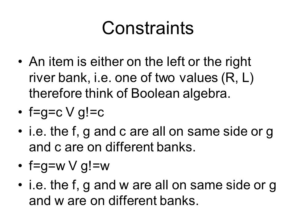 Constraints An item is either on the left or the right river bank, i.e.