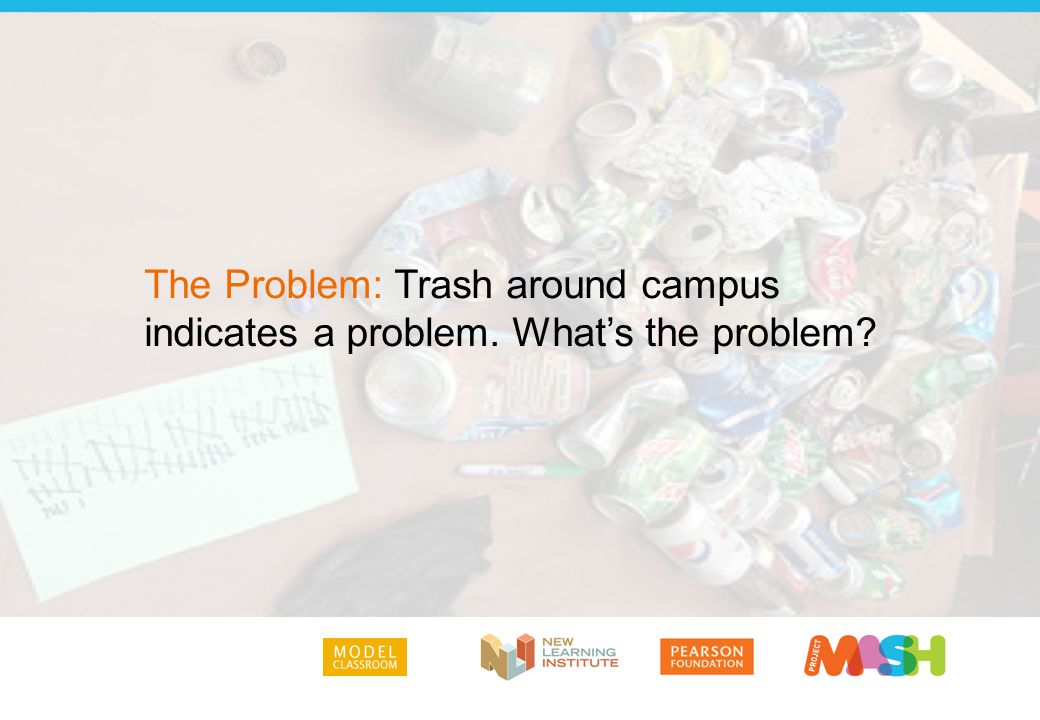 The Problem: Trash around campus indicates a problem. What's the problem?