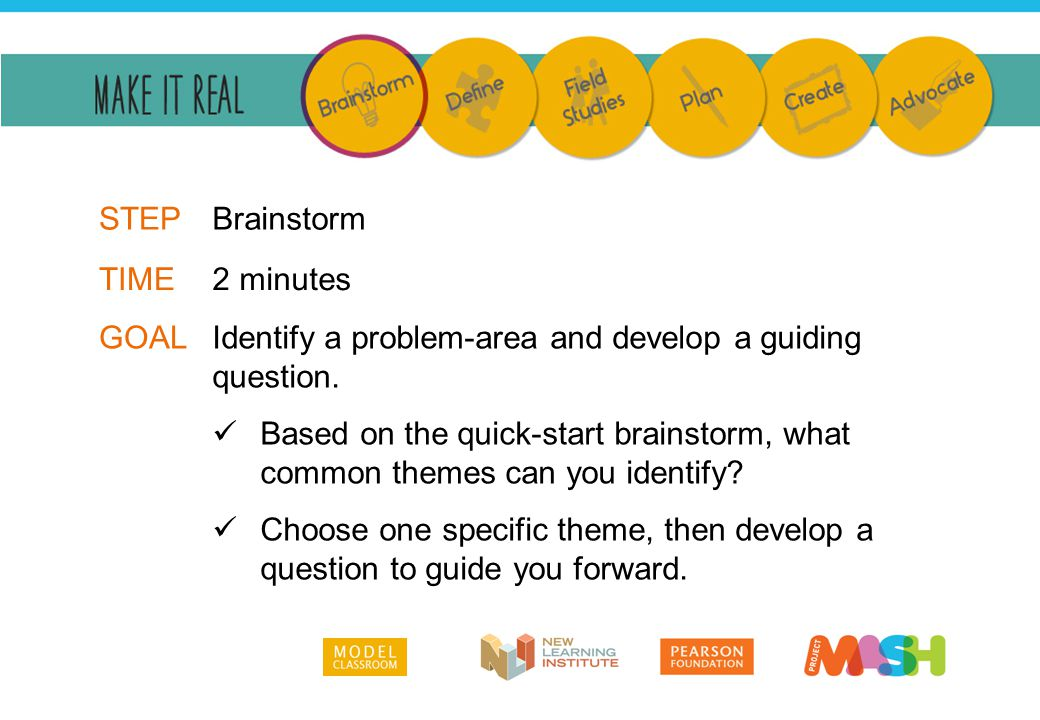 Identify a problem-area and develop a guiding question. Based on the quick-start brainstorm, what common themes can you identify? Choose one specific