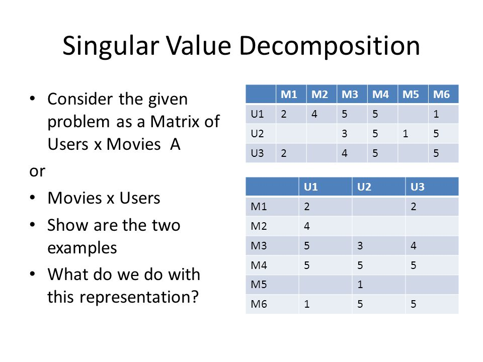 Singular Value Decomposition Consider the given problem as a Matrix of Users x Movies A or Movies x Users Show are the two examples What do we do with