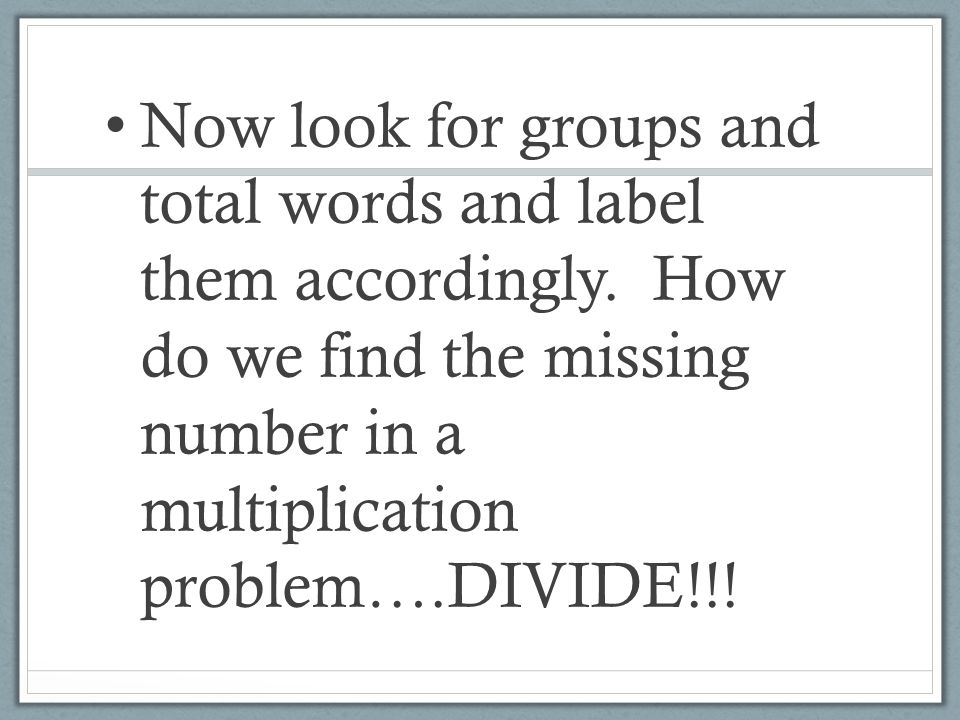 Now look for groups and total words and label them accordingly.