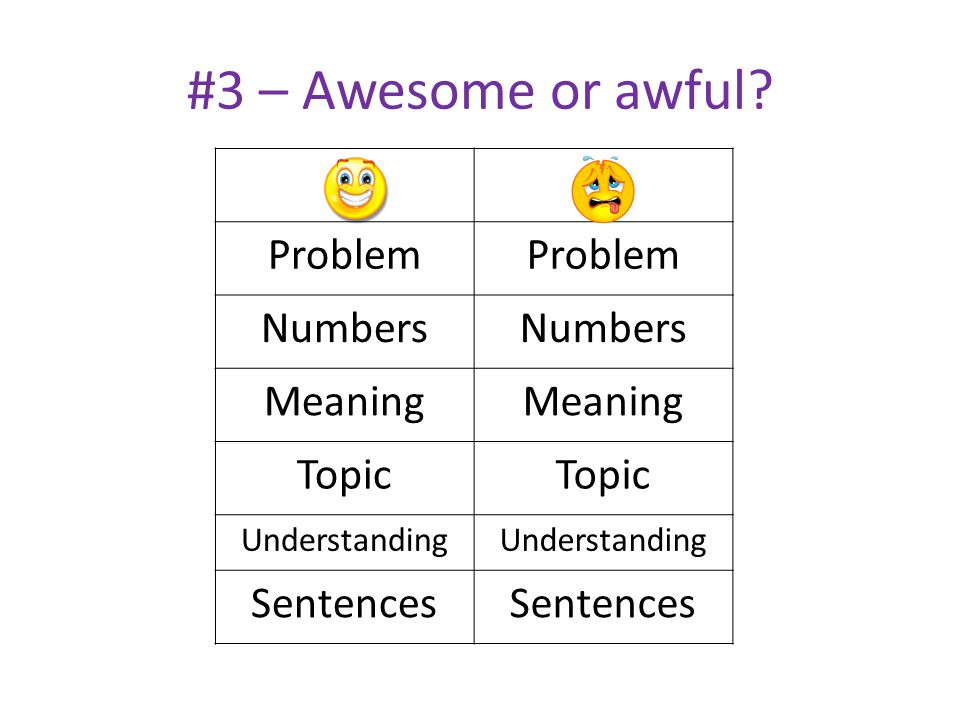 #3 – Awesome or awful? Problem Numbers Meaning Topic Understanding Sentences
