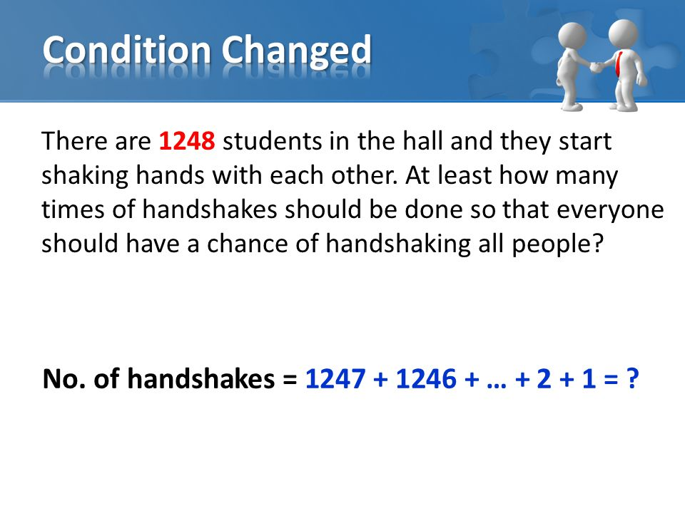 There are 1248 students in the hall and they start shaking hands with each other.