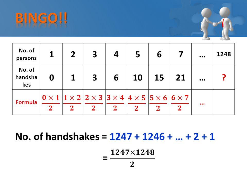 No. of handshakes = 1247 + 1246 + … + 2 + 1 No. of persons 1234567… 1248 No.