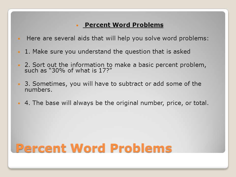 Percent Word Problems Some examples of percent word problems A baseball pitcher won 80% of the games he pitched.