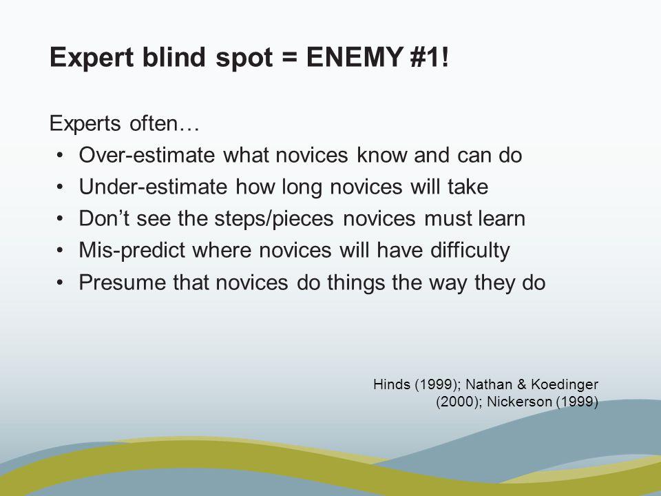 Expert blind spot = ENEMY #1.