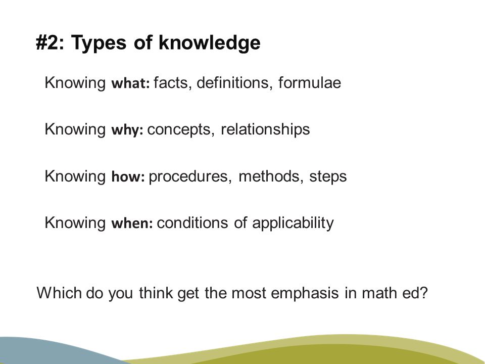 #2: Types of knowledge Knowing what: facts, definitions, formulae Knowing why: concepts, relationships Knowing how: procedures, methods, steps Knowing when: conditions of applicability Which do you think get the most emphasis in math ed