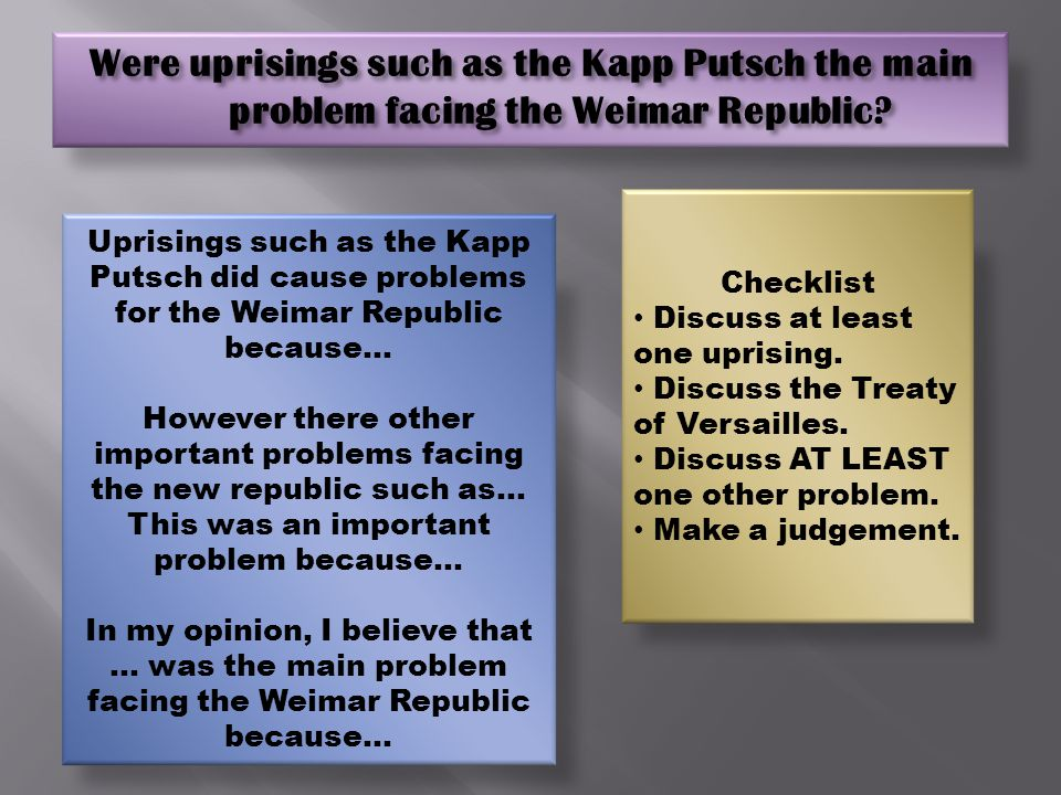 Were uprisings such as the Kapp Putsch the main problem facing the Weimar Republic.