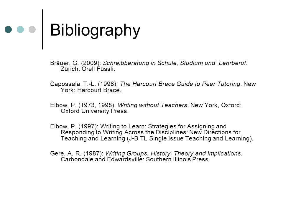 Bibliography Bräuer, G. (2009): Schreibberatung in Schule, Studium und Lehrberuf.