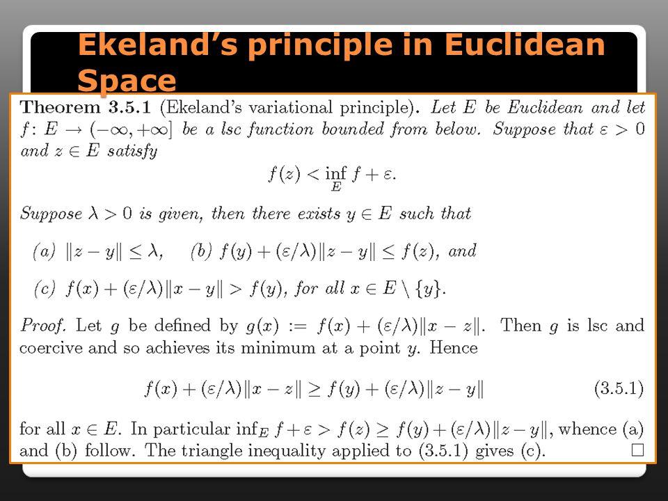 Ekeland's principle in Euclidean Space