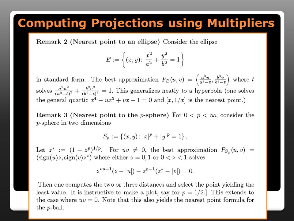 Computing Projections using Multipliers